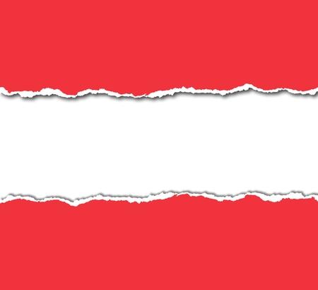 papel rasgado vermelho com copyspace branco Banco de Imagens