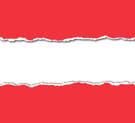 red torn paper with white copyspace Stock Photo - 14826363