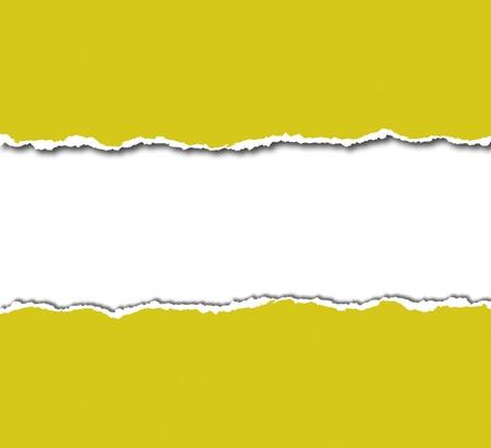 gescheurd papier: geel gescheurd papier met witte copyspace Stockfoto