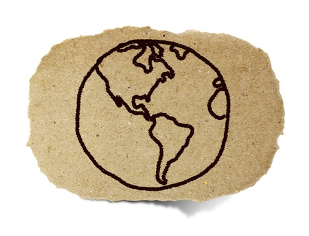 drawing of the earth, world out line illustration on recycle paper illustration