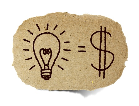 sign equals: Light bulb and the financial gain drawing on recycle paper