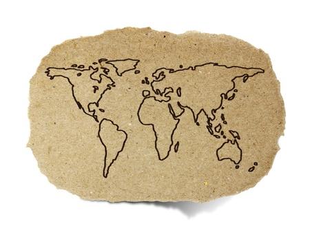 재활용 종이에 세계지도 그리기 스톡 콘텐츠