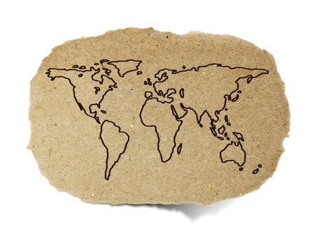 drawing world map on a recycle paper Standard-Bild
