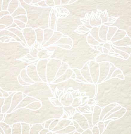 flores chinas: dibujo flor de loto en papel Mulberry Foto de archivo