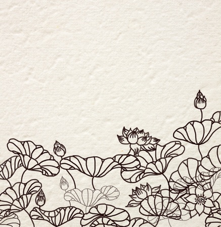 colored paper: hand drawn water lilies on Mulberry paper Stock Photo
