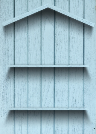 Vintage wood shelf house shape photo