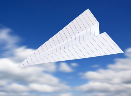 origami planes in blue sky  photo