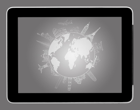a drawing travel around the world on tablet pc  photo