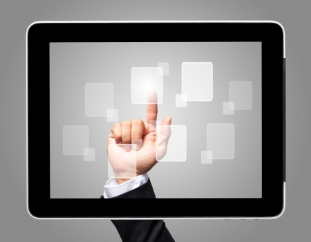 hand touch screen with virtual icon Stock Photo - 15162154