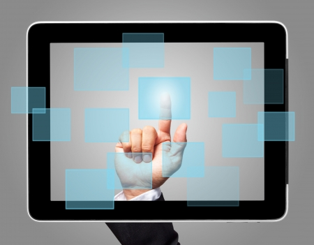 hand touch screen with virtual icon Stock Photo - 15162166