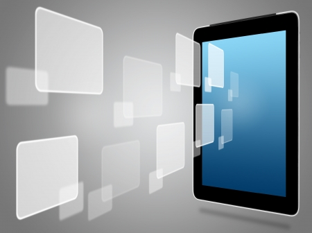 tablet computer and virtual icons  Stock Photo - 15162172