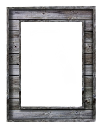 vintage wood picture frame on white background photo