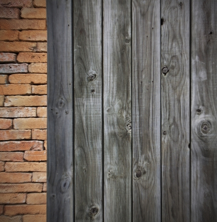 red brick grunge wall and wooden wall photo