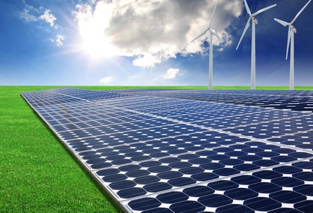 energy field: solar energy panels and wind turbine