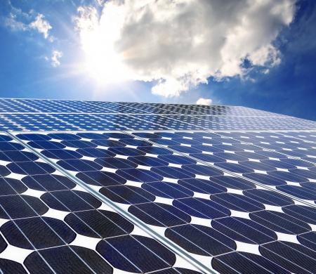 Solar panel on a sunny day blue sky Standard-Bild