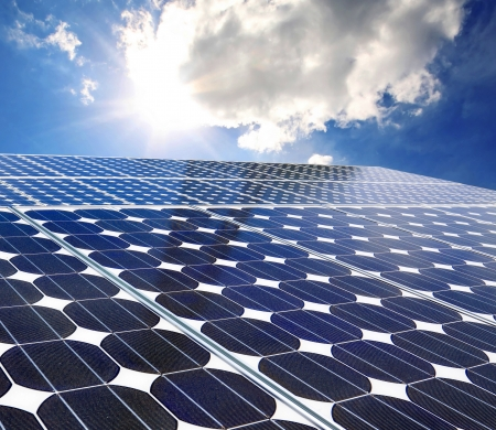 Solar panel on a sunny day blue sky Stock Photo