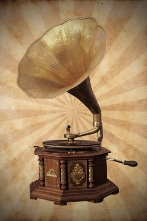 gramophone: Old bronze gramophone on vintage background Stock Photo
