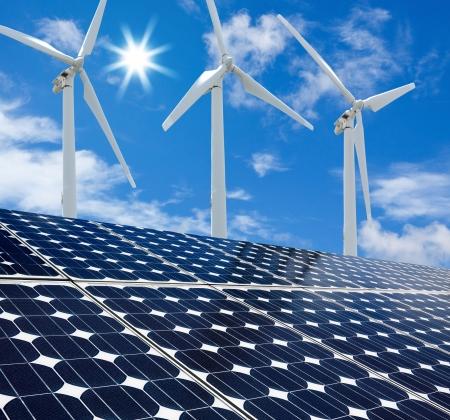 aero generator: Solar panels and Wind Turbines sunny day blue sky