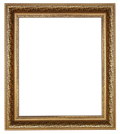 Picture gold frame with a decorative pattern on a white  photo