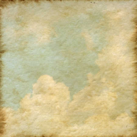 Old Mulberry paper texture background  with a cloud and blue sky photo