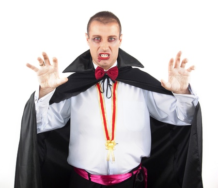 portrait of a handsome young man in a suit of Count Dracula Stock Photo - 15831296