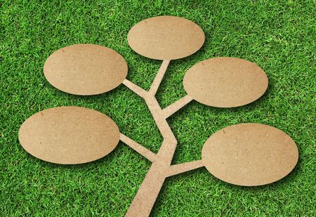 tree recycle paper craft on grass background Stock Photo - 16156018