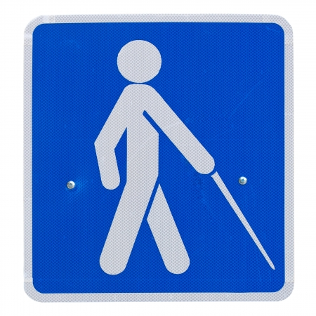 beware: beware people crossing sign blind Stock Photo