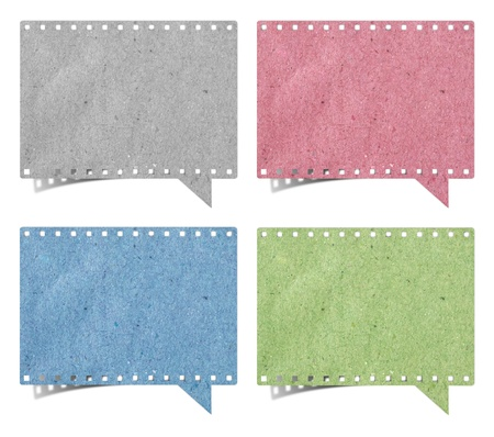 blank film strip speech bubbles recycled paper craft stick on white background  Stock Photo - 16272671