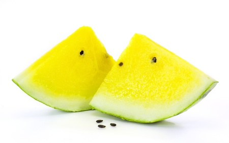 yellow watermelon on white background photo