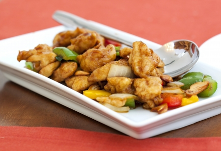 Thai food,stir fired chicken with cashew nuts  photo