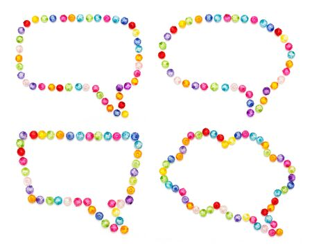 Speech bubble decorate by colorful beads on white background
