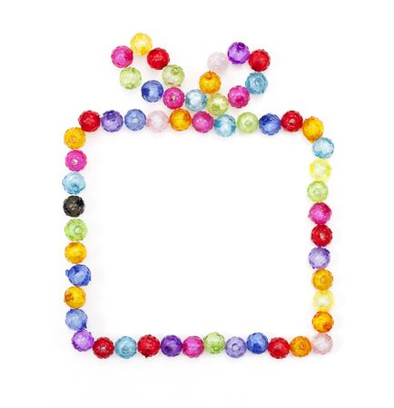 gift box made of colorful beads  on white background Stock Photo - 16726229