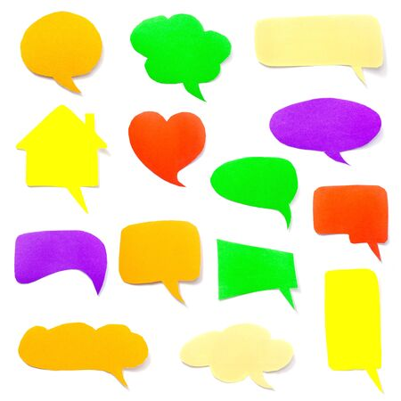 a set of colorful paper speech bubbles photo