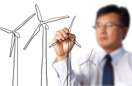Business Man Draw Turbine Power Generator  photo