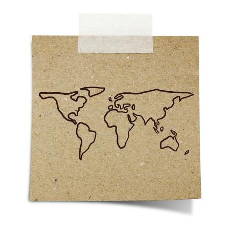참고 테이프 재활용 종이에 손 그리기 세계지도 스톡 콘텐츠