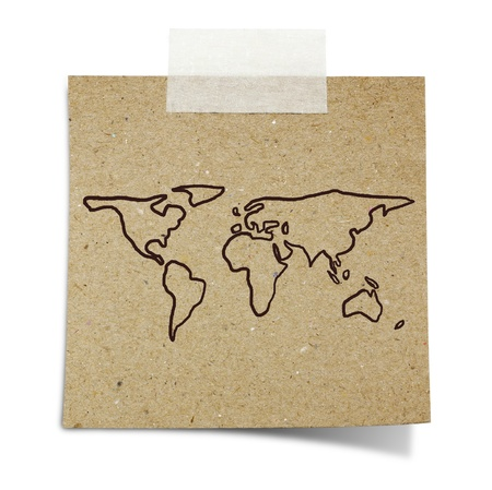 hand draw world map on note taped recycle paper photo