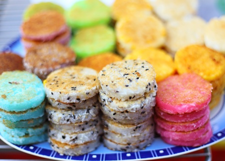 starch:  colorful thai dessert  Kanom Babin , made of sliced coconut, arrowroot starch and glutinous rice flour
