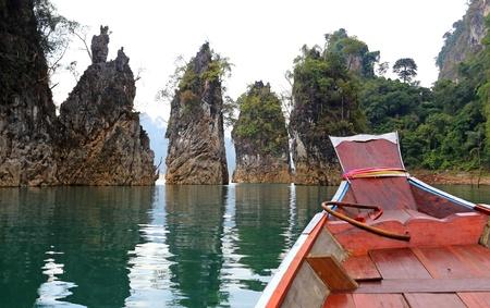 Three rocks in Cheow Lan Lake, Ratchaprapa Dam, Khao Sok National Park, Thailand Stock Photo - 18974992