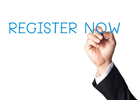 registration: businessman hand writing register now on white board