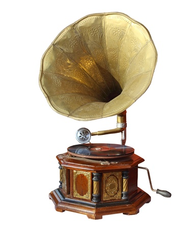 retro old gramophone with horn isolated on white with Clipping Path  photo