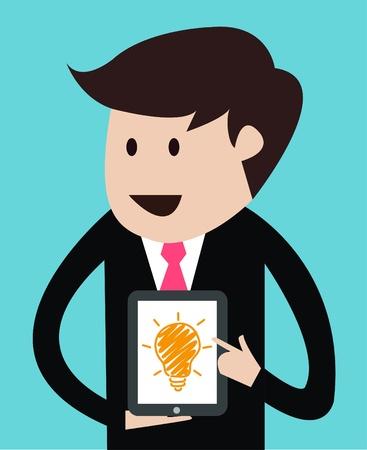 mobil: business man met tablet concept presentatie vector