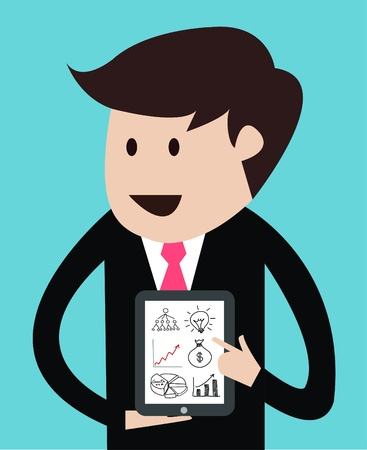 personal data assistant: business man with tablet concept of presentation vector