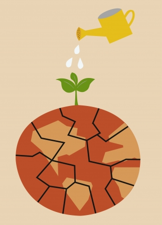 Cracked heated earth and green sprout which grows from a crack  eco concept   向量圖像