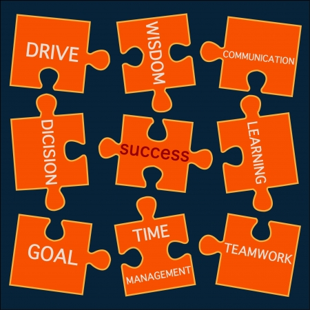 Vector of jigsaw puzzle pieces with words on the topic of success Vector