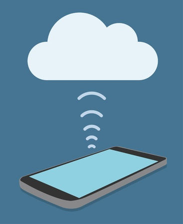 phone system: smart phone with cloud computing Illustration