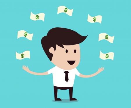 happy man under a flying cash  Vector
