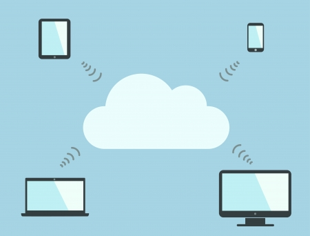 Cloud computing symbol and multiple devices  Vector