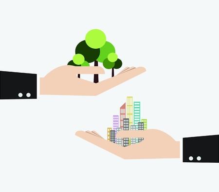 avuç: iş adamı el ekolojisi için gökdelen ve ağaç kavramı tutan Çizim