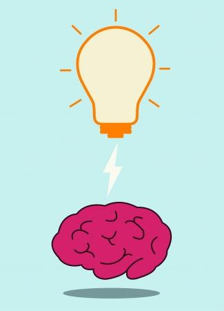 brain and bulb light, vector  Vector
