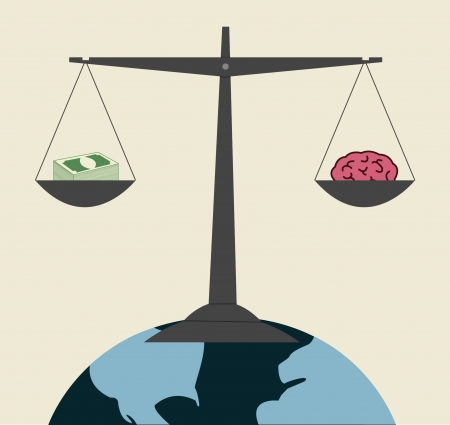Conceptual mini planet money balance with brain Vector
